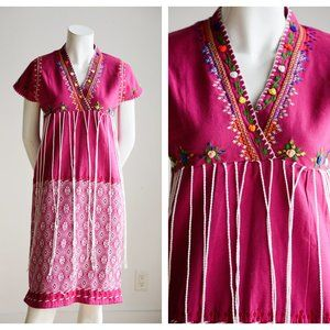 Vintage Raspberry pink Embroidered Ethnic Dress